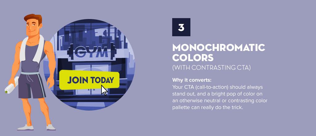 Utilizar cores monocromáticas é uma das tendências de web design e UX