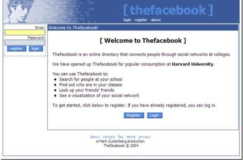 Há 12 anos o layout do Facebook era bem diferente