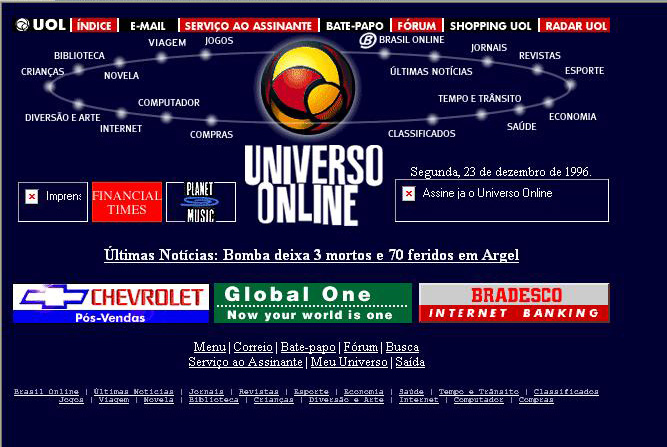 O brasileiro UOL  também mudou bastante desde 1996