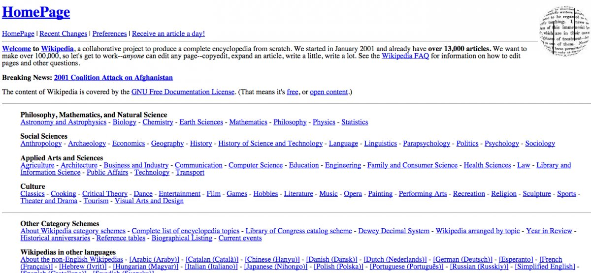 Veja como era o site Wikipedia em 2001