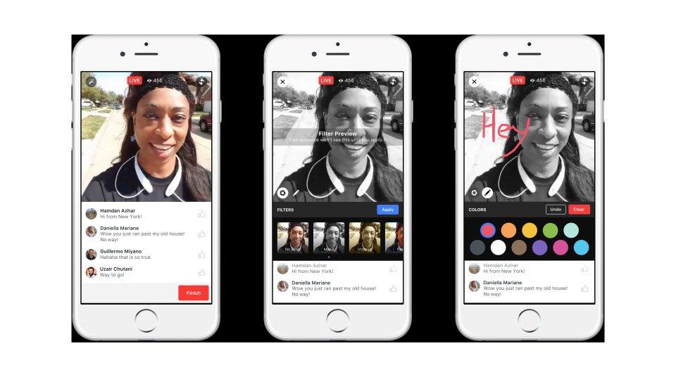Facebook live permite desenhar e usar emojis e filtros