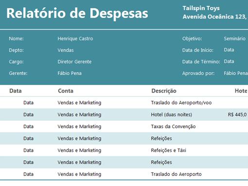 Calcule seus gastos de viagens com esse template simples do Excel
