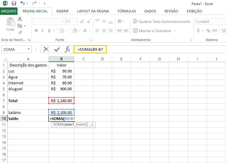 Realize cálculos rapidamente com o Excel