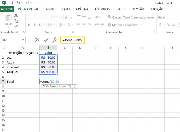 O básico do que Excel já permite realizar cálculos automáticos como Soma