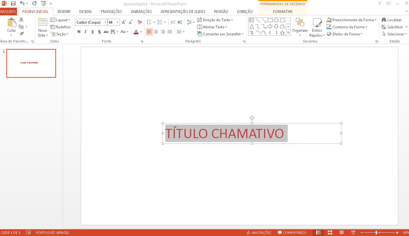 Comece criando o título da sua apresentação