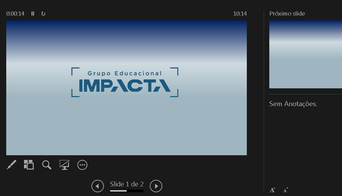 """Você pode visualizar sua criação na aba """"Apresentação de Slides"""""""
