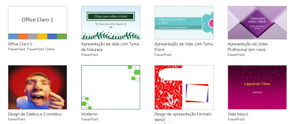 Temas prontos ajudam a criar uma apresentação de PowerPoint