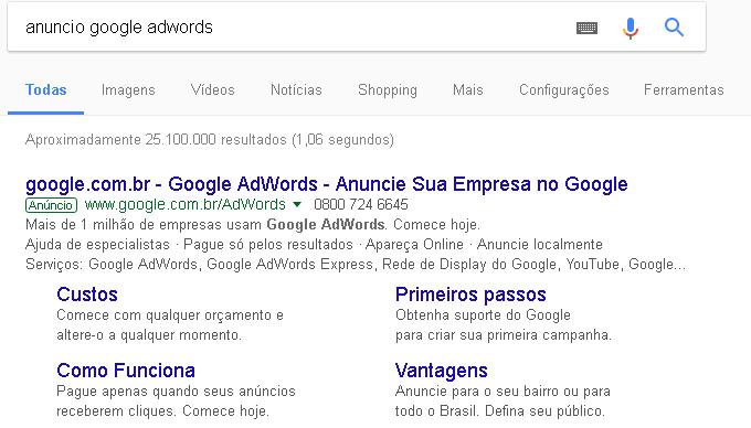 Exemplo de anúncio no Google Adwords