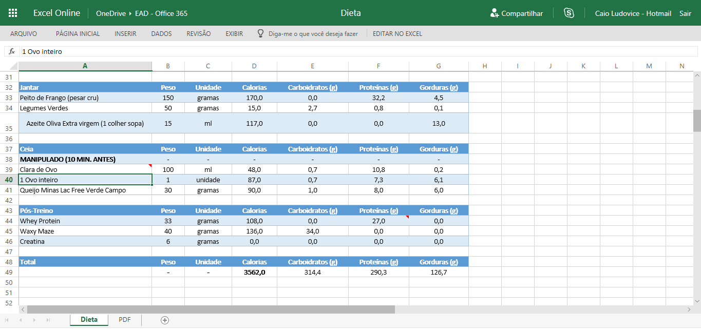 Tabela de Excel Online no Office365